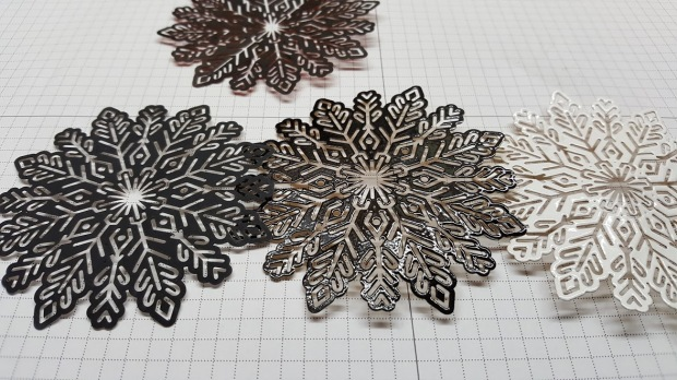 foil snowflakes 9 black and white