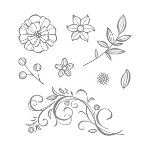 falling flowers stamp