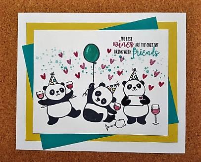 party panda drinking wine