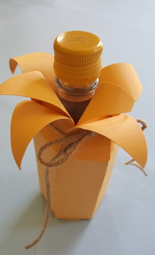 tiger lily wine bottle from top tied view from side