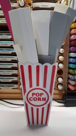 job ticket holders - pop corn box with strips