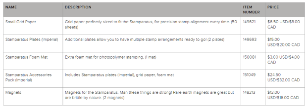 stamparatus accessories price list