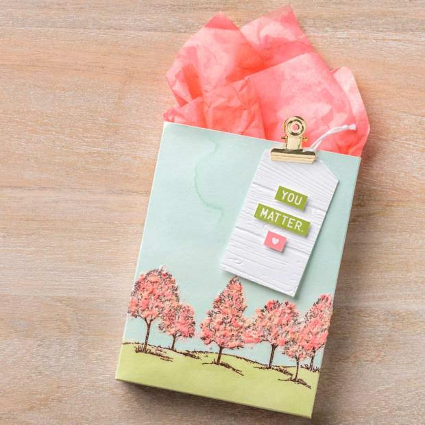 lovely as a tree pink embossing paste