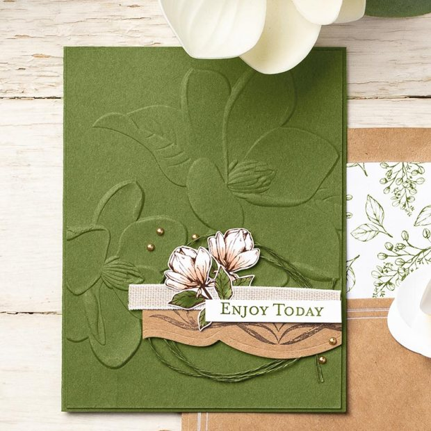 magnolia 3D embossing folder