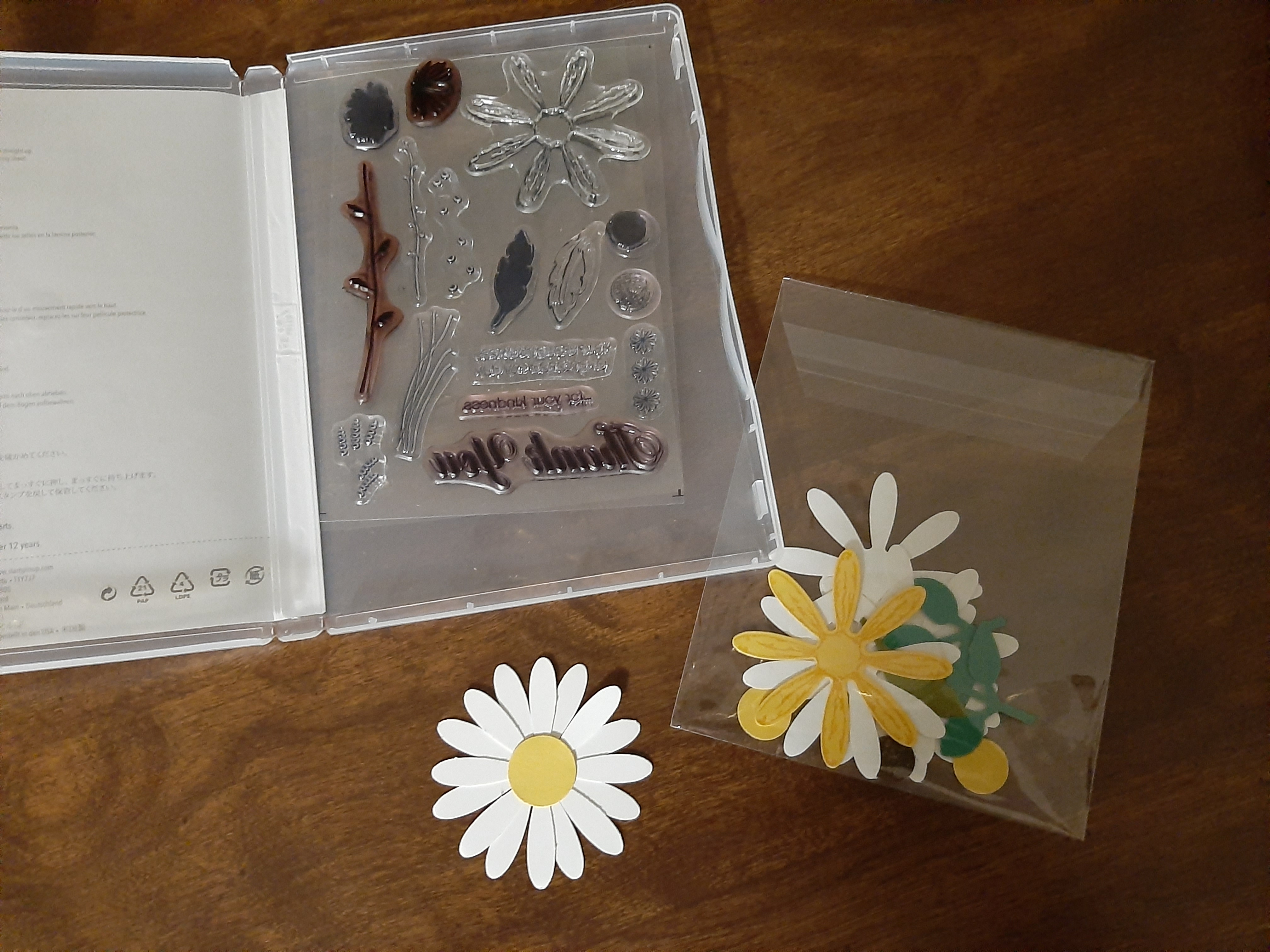 stamps photopolymer to cling sheet with clear envelop to store extra pieces
