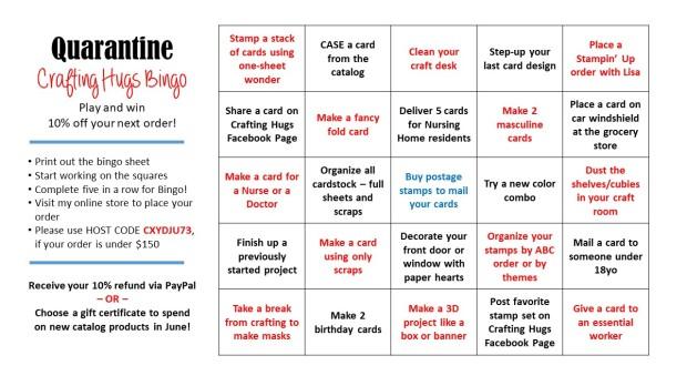 Crafting Hugs Bingo card 2020-05