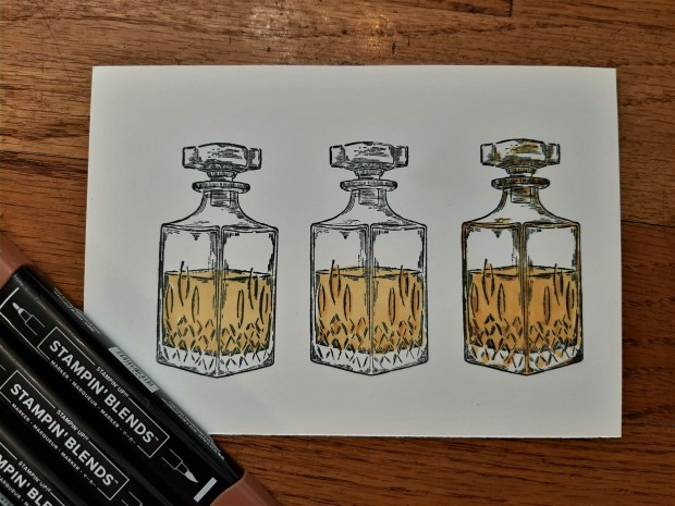 Whiskey Business coloring with Stampin Blends close up