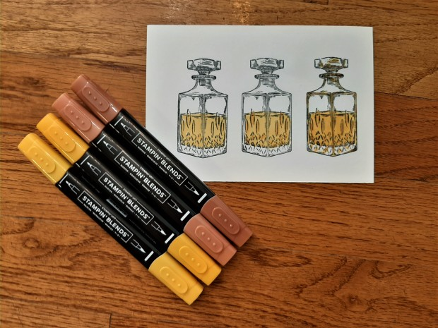 Whiskey Business coloring with Stampin Blends